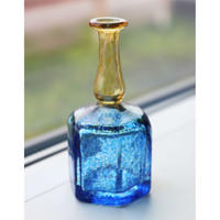 Kosta Boda miniture vase  blue x yellow