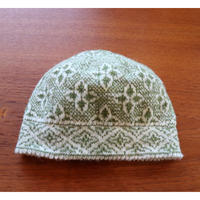handknitted hat from Sweden khaki flower