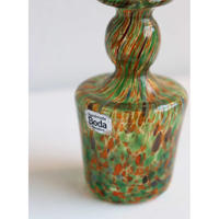 Kosta Boda miniture vase  green x orange melange