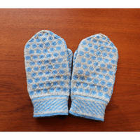 handknitted mitten from Sweden pale blue dot