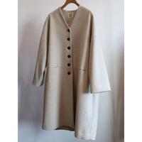 atelier naruse melton wool cocoon coat  oatmeal