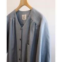 atelier naruse linen V neck shirt sax