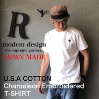 "modem design ""カメレオン刺繍T-SHIRT"" White"