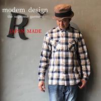 "modem design ""チェックシャツ"" Beg × Nvy"