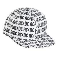 【USA直輸入】AC/DC 白地 総柄 スナップバック キャップ 帽子 ハット ACDC エーシー・ディーシー ロックバンド
