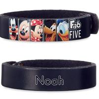 【USA直輸入】Disney ミッキーマウス & フレンド Fab FIVE ブラック  レザー ブレスレット スナップボタン ディズニー アクセサリー バングル 革製品 ミッキー