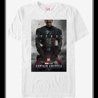 【USA直輸入】MARVEL キャプテンアメリカ ファースト アベンジャーズ ポスター デザイン 白地 Tシャツ マーベル 映画 MCU Captain America