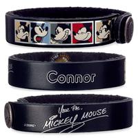 【USA直輸入】Disney ミッキーマウス  フレーム 'Your pal''  ブラック  レザー ブレスレット スナップボタン ディズニー アクセサリー バングル 革製品 ミッキー