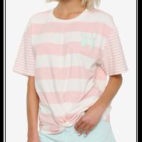 【USA直輸入】DISNEY  リトルマーメイド 30thア二バーサリー ストライプ ツイスト フロント トップ Tシャツ アリエル ディズニー プリンセス 人魚姫