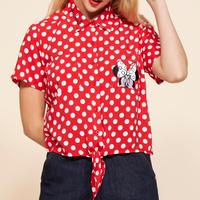 【USA直輸入】DISNEY ミニーマウス 赤白 ドット柄 タイ フロント 半袖 シャツ ディズニー ミニー Minnie Mouse ボタンダウン ミッキー 半袖シャツ 開襟シャツ アパレル