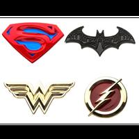 【USA直輸入】DC ジャスティスリーグ スーパーマン & バットマン & ワンダーウーマン & フラッシュ  ロゴ エナメル ラペル ピン 4個セット ピンズ DCコミックス ピンバッジ マーク