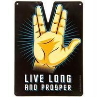 【USA直輸入】スタートレック ブリキ看板 長寿と繁栄を 壁掛け バルカン星人 スポック メタルサイン 看板 インテリア Star Trek