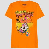 【USA直輸入】ストレンジャーシングス シーズン3 Dustin ダスティン ビーチの牛 オレンジ Tシャツ Sサイズ Stranger Things ネットフリックス