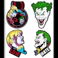 【USA直輸入】DC ジョーカー & ハーレークイーン フェイス エナメル ラペル ピン 4個セット ピンズ DCコミックス ピンバッジ ハーレイ プリンちゃん