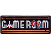 【USA直輸入】ブリキ看板 GAME ROOM ゲームルーム アーケード エンボス加工 メタルサイン ブリキ 看板  ブリキ看板 ポスター  GAME ゲーム