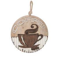【USA直輸入】木製 & メタル ウォールデコ 丸形 Coffee 看板  ポスター  壁掛け インテリア   コーヒー