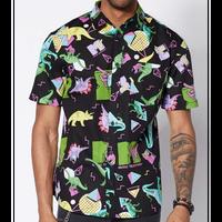 【USA直輸入】ダイナソー MTV ボタンダウンシャツ シャツ 半袖   恐竜