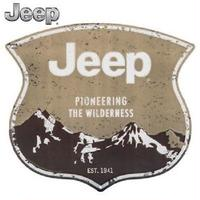 【USA直輸入】ブリキ看板 ジープ Jeep   Pioneering The Wilderness  壁掛け メタルサイン 看板 インテリア