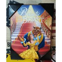 【USA直輸入】DISNEY 美女と野獣  階段 木製 ウォールサイン 看板 ポスター ベル