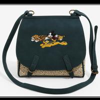 【USA直輸入】DISNEY ミッキーマウス & プルート & レオパード ショルダーバッグ ヒョウ柄 裏地は足跡柄 ディズニー ラウンジフライ  Loungefly 肩掛け バッグ ミッキー