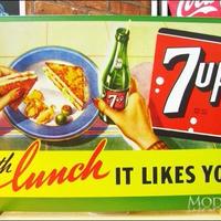 アメリカン ブリキ看板  セブンアップ  ランチのお供に サンドウィッチ 7up 企業