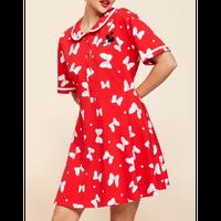 【USA直輸入】DISNEY ミニーマウス リボン 総柄 赤色 ワンピース ディズニー Dハロ ディズニーランド アパレル スカート ミッキーマウス ミニーちゃん