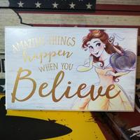 【USA直輸入】DISNEY 美女と野獣 白地 木製 ウォールサイン 看板 ポスター ベル