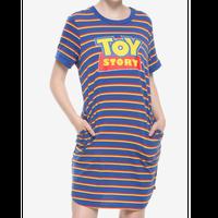 【USA直輸入】DISNEY トイストーリー ストライプ Toy Story ロゴ ロングTシャツ ワンピース ディズニー ピクサー ウッディ バズ Tシャツ