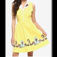 【USA直輸入】DISNEY 美女と野獣 ベル 黄色 レトロ ドレス Sサイズ 魔法のバラ チップ ワンピース スカート ディズニー プリンセス Dハロ アパレル