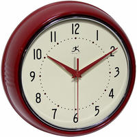 【USA直輸入】インフィニティ インストルメント レトロ 丸形 レッド 掛け時計 壁掛け 時計 インテリア