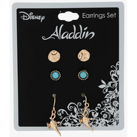 【USA直輸入】Disney アラジン ジャスミン スタッツ & 魔法のランプ ピアス 3種セット ディズニー アクセサリー プリンセス Aladdin  ジーニー ジャファー イヤリング