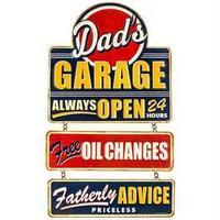 【USA直輸入】ブリキ看板 Dad's Garage 父のガレージ つり下げ型 メタルサイン ブリキ 看板