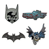 【USA直輸入】DC バットマン  ピンズ 4個セット  ロゴ&マスク & 全身 & バットモービル DCコミックス ピンバッジ マーク ジャスティスリーグ