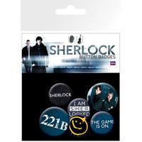 【海外直輸入】SHERLOCK シャーロック 缶バッジ 6個セット 221B カンバーバッチ BBC ベーカーストリート ジョン ホームズ   ワトソン  バッチ