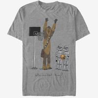 【USA直輸入】STARWARS チューイ ストームトルーパー バスケットボール Tシャツ 可愛いデザイン グレー スターウォーズ チューバッカ トルーパー