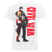 【USA直輸入】MARVEL キャプテンアメリカ コミック シビルウォー アイアンマン マスク Tシャツ Mサイズ マーベル 映画 MCU  Civil War