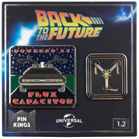 【USA直輸入】バックトゥザフューチャー デロリアン & 次元転移装置 Flux Capacitor PIN KINGS ピン キング 1.2 エナメルピンバッジ  2個セット