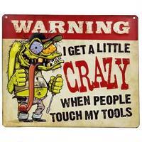 【USA直輸入】ブリキ看板 クレイジー ツール Crazy Tools メタルサイン 看板 ポスター インテリア WARNING