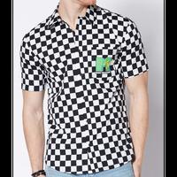 【USA直輸入】チェック MTV ボタンダウンシャツ シャツ 半袖   白黒チェック