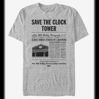 【USA直輸入】バックトゥザフューチャー 時計台 新聞 チラシ柄 Tシャツ 時計台を守ろう マーティ ジェニファー ドク デロリアン
