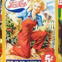アメリカン ブリキ看板  ペプシコーラ  農園の女性 ペプシ 企業 看板