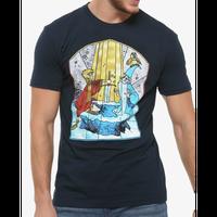 【USA直輸入】DISNEY The Sword in the Stone 王様の剣 アーサー王 & マーリン ステンドグラス  Tシャツ Sサイズ ディズニー アルキメデス ワート 魔法使い