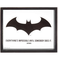 【USA直輸入】DCコミックス バットマン ロゴ シンボル ガラス 木製フレーム付き ウォールデコ  看板 ポスター DC  ポスター Batman