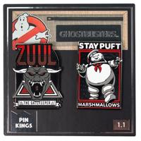 【USA直輸入】Ghostbusters ゴーストバスターズ PIN KINGS  ピン キング 1.1 エナメルピンバッジ  2個セット 門の神 ズール & マシュマロマン バッジ ピンズ