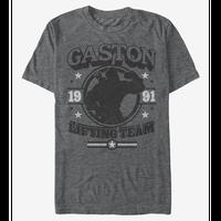 【USA直輸入】DISNEY  美女と野獣 ガストン リフティングチーム 1991 Tシャツ グレー シルエット ディズニー ベル ヴィランズ ガストンの酒場 Gaston