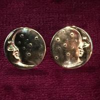 三日月と星屑のピアスSMALL両耳用(両眼エメラルド)