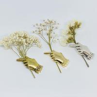 生け花ブローチ(真鍮に18金ゴールドコート)