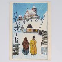 チェコ ポストカード ヨゼフ・ラダ 雪景色 教会へ向かう夫婦