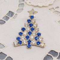 チェコ ガラスラインストーンブローチ クリスマスツリー ブルー・ホワイト