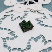 チェコ ハートのラインストーンブローチ 深い緑